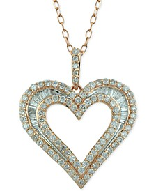 Diamond Baguette Heart Adjustable Pendant Necklace (1 ct. t.w.) in 14k Rose Gold