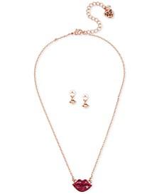 Rose Gold-Tone Crystal Glitter Lips Pendant Necklace & Imitation Pearl Drop Earrings Set