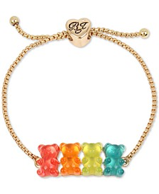 Gold-Tone Multicolor Gummy Bear Slider Bracelet