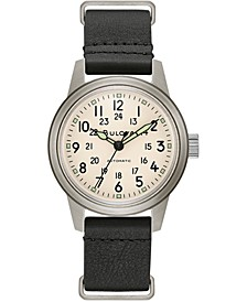 Men's Automatic Military Black Leather Strap Watch 38mm