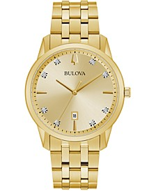 Men's Sutton Diamond-Accent Gold-Tone Stainless Steel Bracelet Watch 40mm