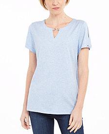 Karen Scott Keyhole T-Shirt, Created for Macy's
