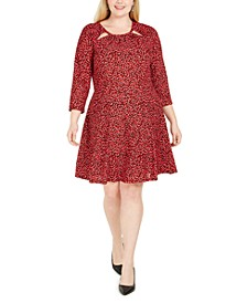Plus Size Ruched Cutout-Neck Printed Dress