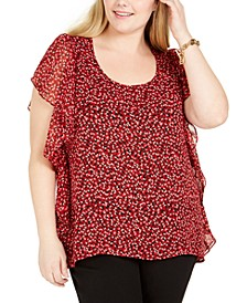 Plus Size Printed Ruffle-Trim Top