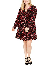 Plus Size Printed Shirred Dress