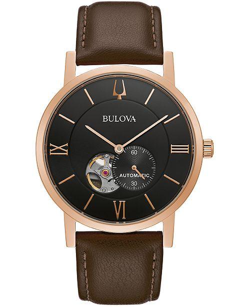 Bulova Men's Automatic Clipper Brown Leather Strap Watch 42mm