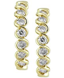 "Diamond Medium Hoop Earrings (1 ct. t.w.) in 10k Gold, 1.1"""