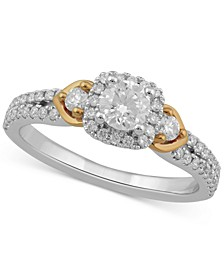 Diamond Halo Engagement Ring (3/4 ct. t.w.) in 10k Gold & White Gold
