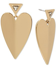 Gold-Tone Crystal Folded Heart Drop Earrings