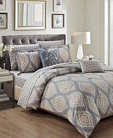 Bethpage 9-Piece Printed Reversible Queen Comforter Set