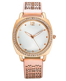 INC Women's Pink Faux Leather Strap Watch 36mm, Created for Macy's