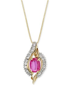 "Certified Ruby (1 ct. t.w.) & Diamond (3/8 ct. t.w.) 18"" Pendant Necklace in 14k Gold"