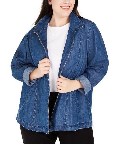 Karen Scott Plus Size Zippered Denim Jacket, Created For Macy's