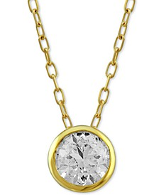 "Diamond Bezel Solitaire 18"" Pendant Necklace (1/2 ct. t.w.) in 14k Gold"