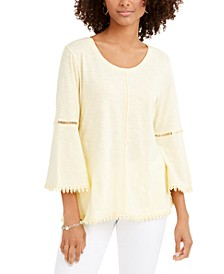 Crochet-Trim Bell-Sleeve Top, Created for Macy's, Regular & Petite