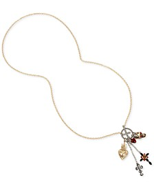 "Two-Tone Multi-Stone Skull & Cross Multi-Charm 30"" Pendant Necklace"