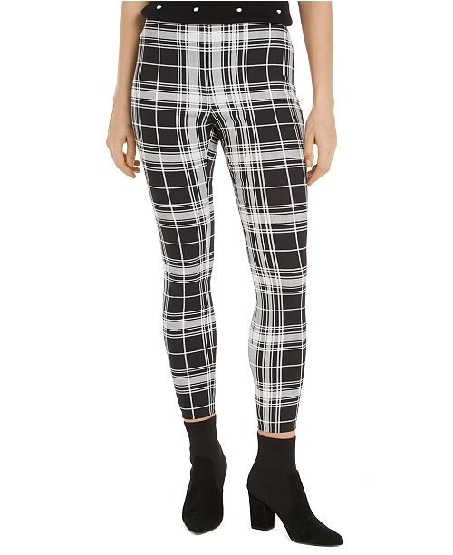 Maison Jules Plaid Pull-On Ponté-Knit Pants, Created for Macy's