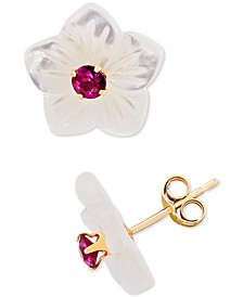 Mother-of-Pearl Flower & Lab Created Emerald, Ruby or Sapphire Stud Earrings in 10k Gold