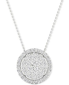 "Diamond Halo Cluster 18"" Pendant Necklace (1/2 ct. t.w.) in 10k White Gold"