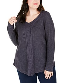 Plus Size Glitter Cable-Knit Sweater