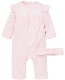 Baby Girls 2-Pc. Cotton Headband & Bunny Coverall Set