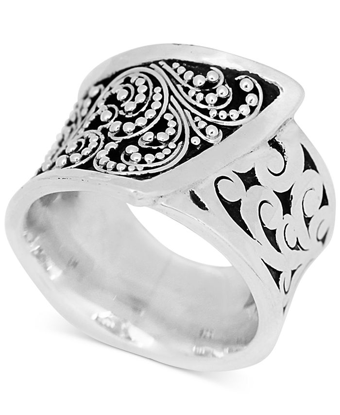 Lois Hill - Square Carved Wrap-Look Statement Ring in Sterling Silver