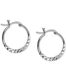 "Small Hammered-Look Hoop Earrings in Sterling Silver, 0.75"", Created For Macy's"