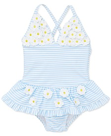 Baby Girls 1-Pc. Striped Daisy Swimsuit