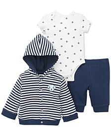 Baby Boys 3-Pc. Puppy Cardigan, Bodysuit & Pants Set