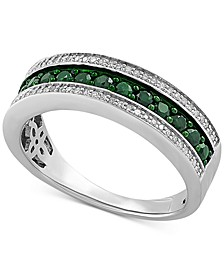 Emerald (1/2 ct. t.w.) & Diamond (1/8 ct. t.w.) Three Row Band in Sterling Silver