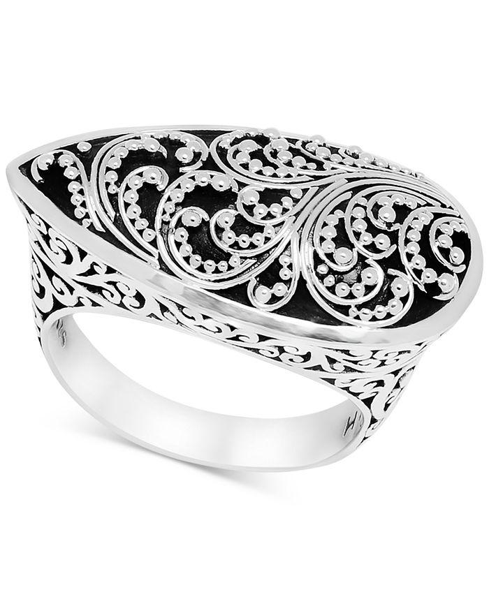 Lois Hill - Filigree Teardrop Statement Ring in Sterling Silver