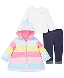 Baby Girls 3-Pc. Rainbow-Striped Jacket, T-Shirt & Pants Set