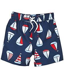 Baby Boys Sail Boat-Print Swim Trunks