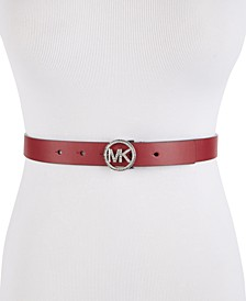 Skinny Pavé-Logo Leather Belt