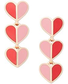 Gold-Tone Folded Heart Drop Earrings