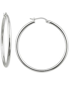 "Medium Polished Tube Hoop Earrings in Sterling Silver, 1.38"", Created For Macy's"