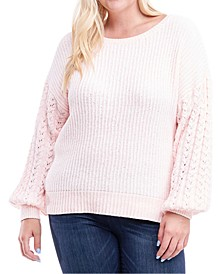 Plus Size Drop-Sleeve Mixed-Knit Sweater