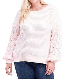 Fever Plus Size Drop-Sleeve Mixed-Knit Sweater