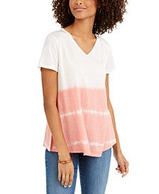 Tie-Dyed V-Neck Linen-Blend Top, Created For Macy's