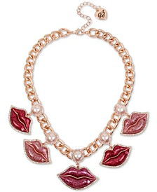 "Rose Gold-Tone Crystal & Imitation Pearl Glitter Lips Statement Necklace, 16"" + 3"" extender"