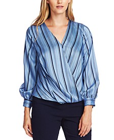 Stripey Interludes Wrap-Front Blouse