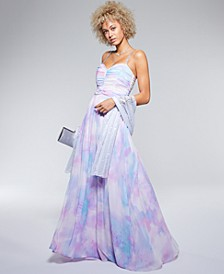 Juniors' Embellished-Strap Tie-Dyed Gown