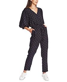 Belted Polka-Dot Jumpsuit
