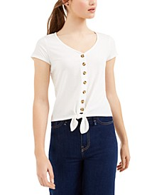 Juniors' Ribbed Tie-Front Top