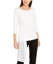 Sheer Asymmetrical-Overlay Top, Created for Macy's