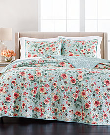 Martha Stewart Collection Garden Floral Full/Queen Quilt, Created for Macy's