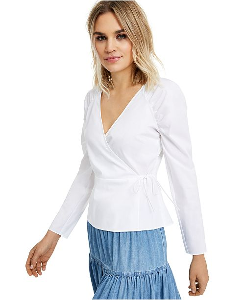 INC International Concepts INC Puff-Sleeve Wrap Top, Created for Macy's