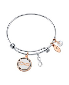 """Forever Friends"" Infinity Bangle Bracelet in Stainless Steel & Rose Gold-Tone with Silver Plated Charms"