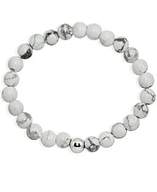 Genuine Stone Bead Stretch Bracelet with Fine Silver Plate Bead Accent