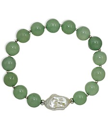 Genuine Stone Bead Biwa Pearl Stretch Bracelet